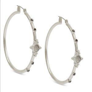 NWT Lucky Brand Silver Boho Hoops with stones